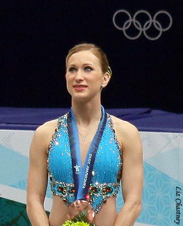 Joannie Rochette during the 2010 Olympic medal ceremony (Photo by Liz Chastney)