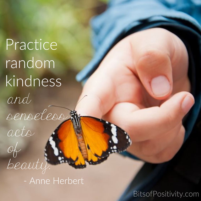 """Practice random kindness and senseless acts of beauty."" Anne Herbert"