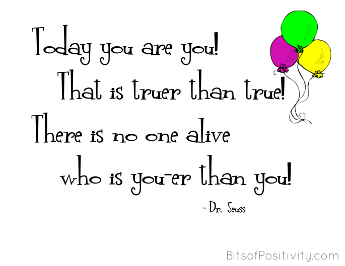 """""""Today You Are You"""" Dr. Seuss Inspired Word-Art Freebie"""