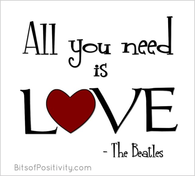 All You Need Is Love Word Art Freebie