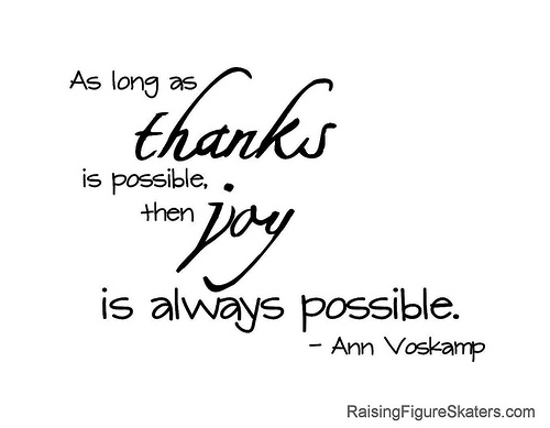 """As long as thanks is possible, then joy is always possible."" Ann Voskamp"