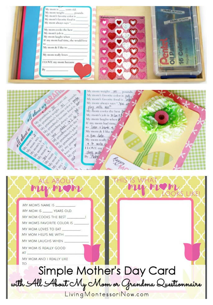 Simple Mother's Day Card with All About My Mom or Grandma Questionnaire