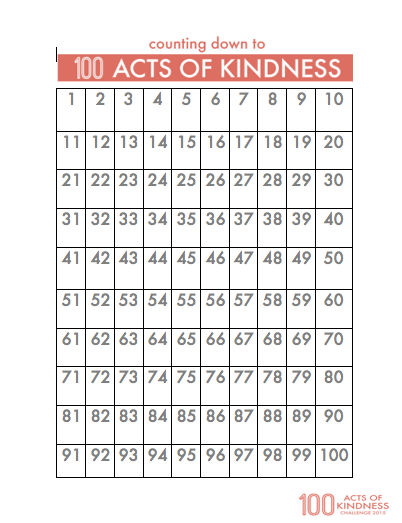 100 Acts of Kindness Chart (Image from Toddler Approved)