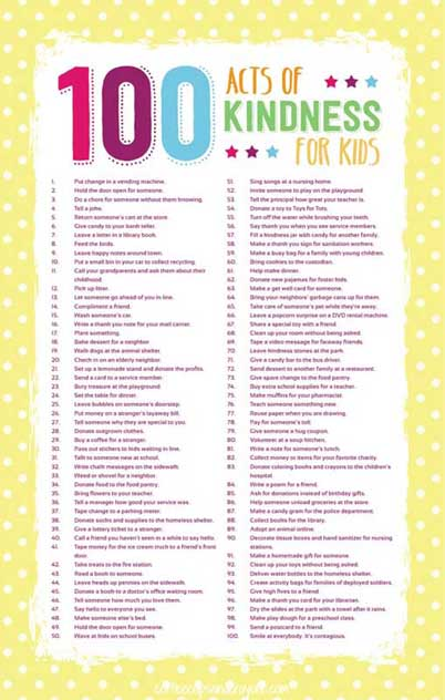 100 Acts of Kindness for Kids (Image from Coffee Cups and Crayons)