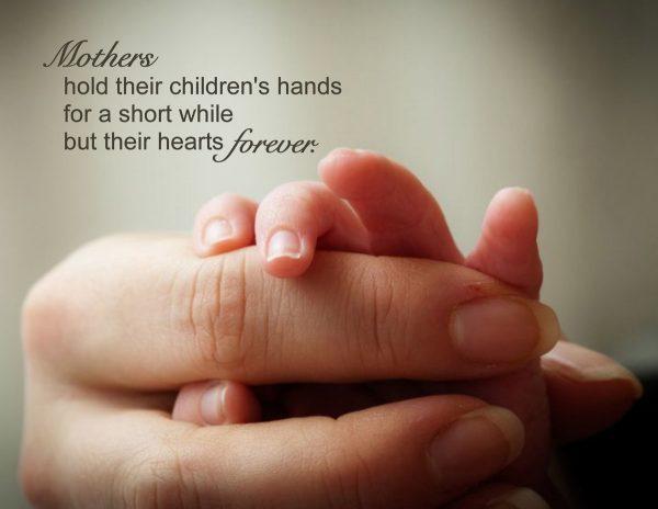 """Mothers Hold Their Children's Hands"" Word Art Freebie"
