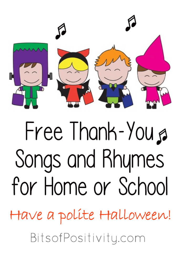 Free Thank-You Songs and Rhymes for Home or School - Have a polite Halloween!