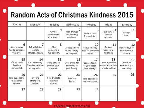 Random Acts of Christmas Calendar 2015 from Coffee Cups and Crayons