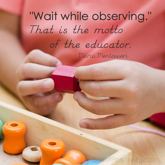 """'Wait while observing.' That is the motto of the educator."" Maria Montessori"