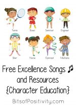 Free Excellence Songs and Resources {Character Education}