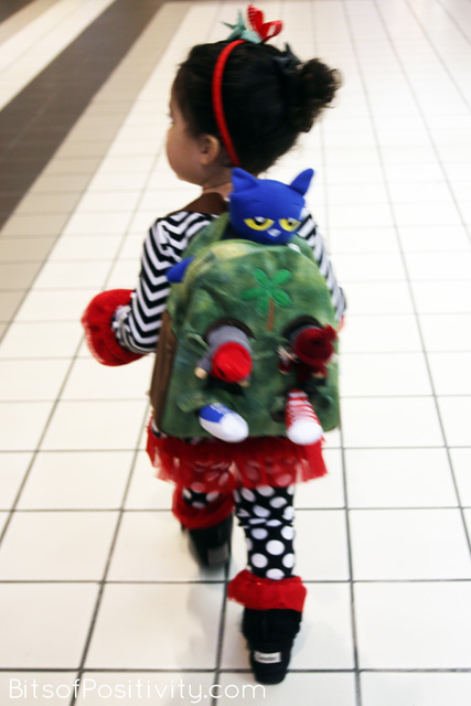 Walking to the Food and Toy Drive with Pete the Cat and the Kindness Elves