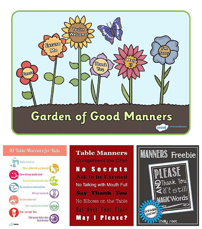 20 Free Printable Manners Cards Booklets Charts And Games Bits