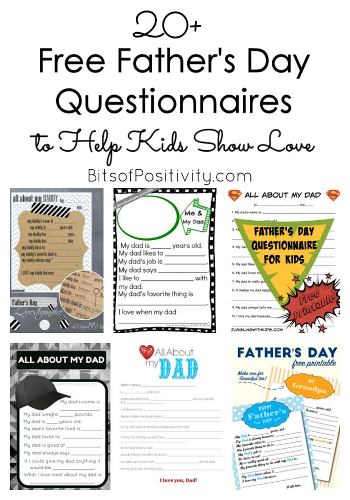 20 Free Father S Day Questionnaires To Help Kids Show Love Bits