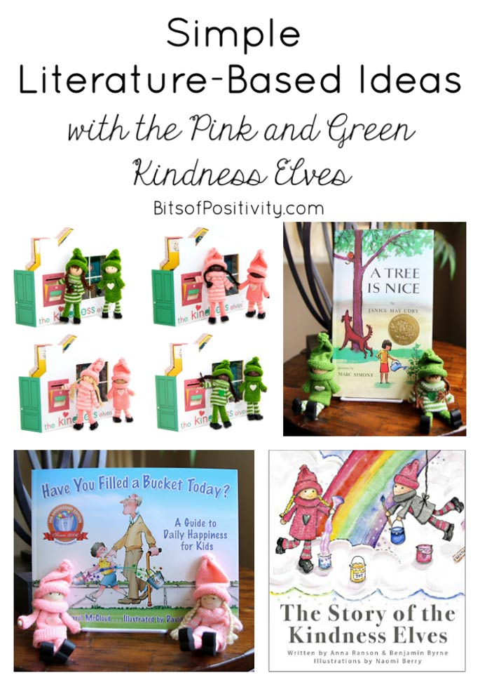 Simple Literature-Based Ideas with the Pink and Green Kindness Elves