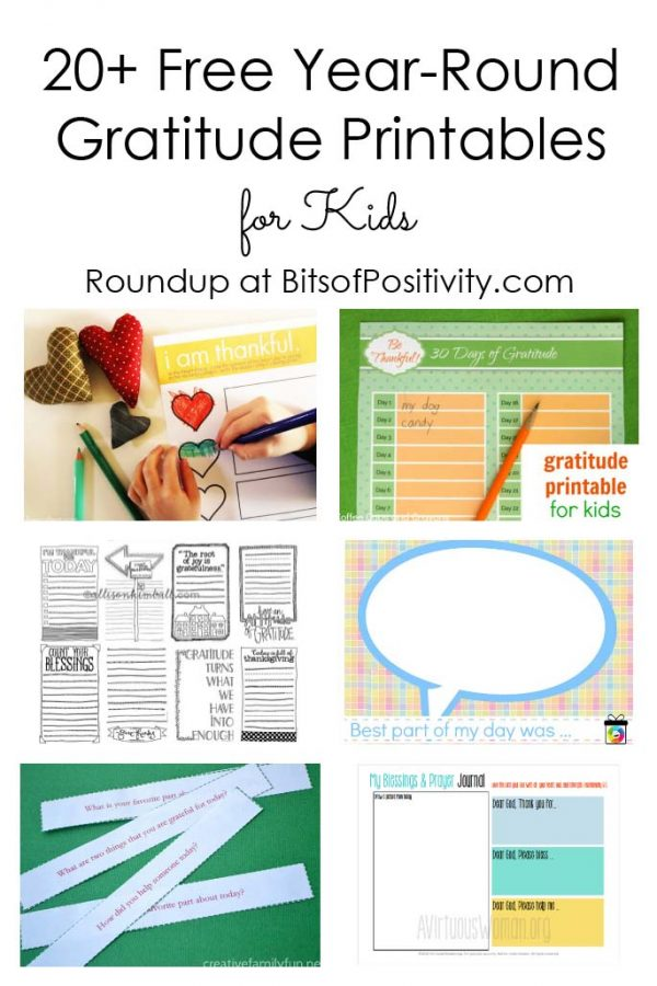 20+ Free Year-Round Gratitude Printables for Kids