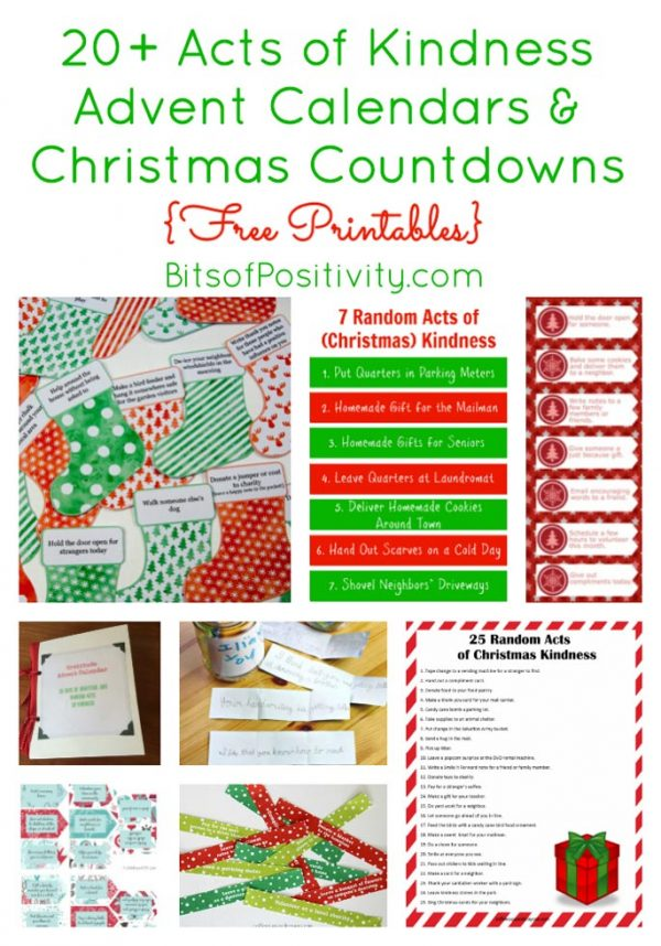 20+ Acts of Kindness Advent Calendars and Christmas Countdowns {Free Printables}