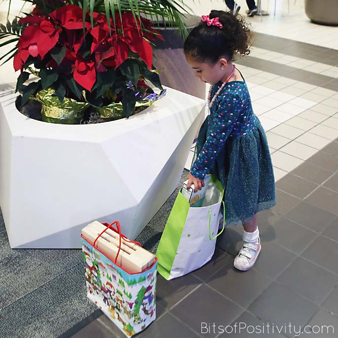 Checking the Bags for the Food and Toy Drive