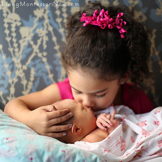 Loving Her New Baby Sister