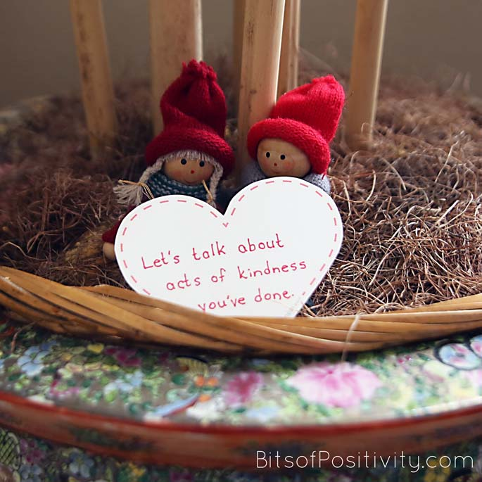 """The Kindness Elves with Their 100 Acts of Kindness Message: """"Let's talk about acts of kindness you've done."""""""