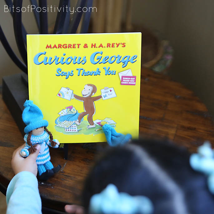 Checking out the Kindness Elves and Curious George Says Thank You