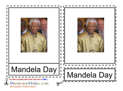 Free Mandela Day Materials for ages 3-9 from Montessori Helper