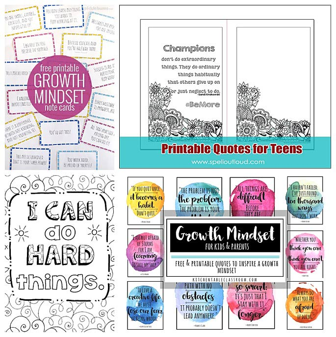Free Growth Mindset Printables for Kids and Adults