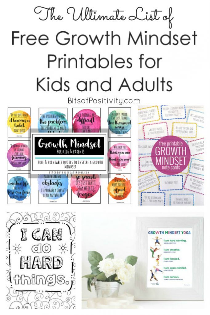 The Ultimate List Of Free Growth Mindset Printables For Kids And Adults Bits Of Positivity