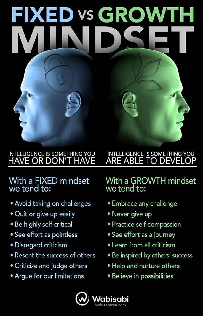 Fixed vs. Growth Mindset Infographic from Wabisabi
