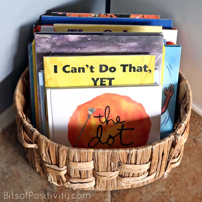 Montessori Book Basket with Some Growth Mindset Books