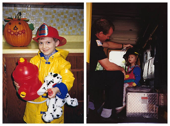 Firefighter Dramatic Play for Halloween 1989 and at the Fire Station Open House in 1992