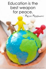"""Education Is the Best Weapon for Peace"" Montessori Word Art Freebie"