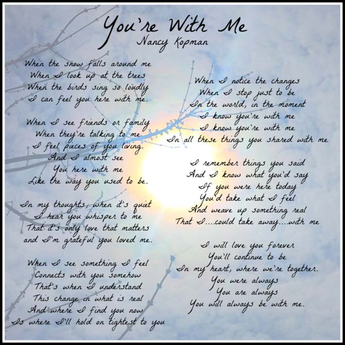 "Lyrics to ""You're With Me"" by Nancy Kopman"