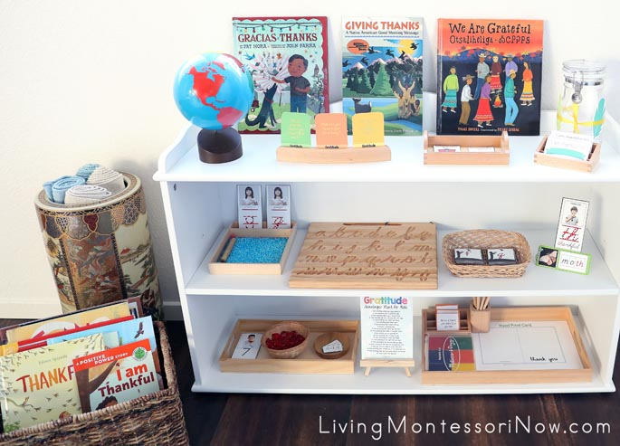 Montessori Book Basket and Shelves with Gratitude-Themed Activities