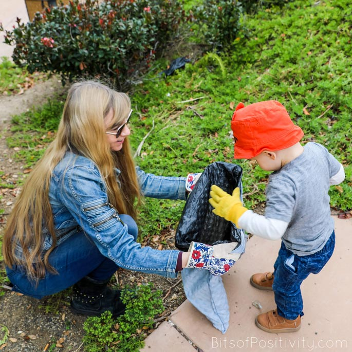 Grandma and Grandson Picking up Litter for 100 Acts of Kindness Challenge