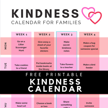 Kindness Calendar for Families from Toddler Approved