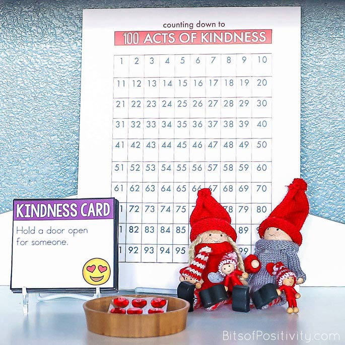 Kindness Elf Family with Kindness Cards, Chart, and Hearts