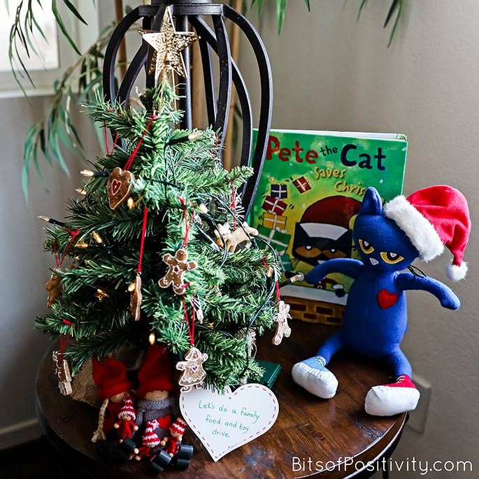 The Kindness Elves and Pete the Cat Encouraging Participation in a Family Food and Toy