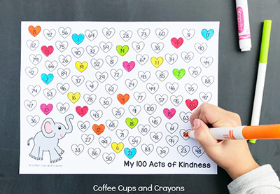 100 Acts of Kindness Recording Sheet from Coffee Cups and Crayons